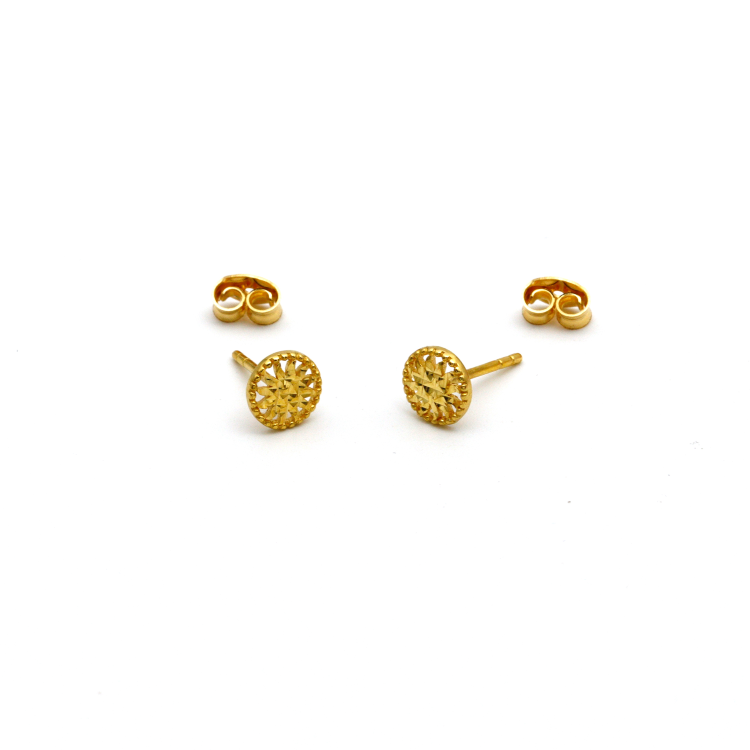 Real Gold Round Glittering Earring Set E1404 - 18K Gold Jewelry