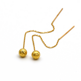 Real Gold Hanging Ball Earring Set E1408 - 18K Gold Jewelry