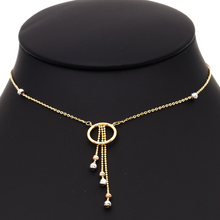 Real Gold 3 Color Rosary Drop Necklace 1614 N1245 - 18K Gold Jewelry