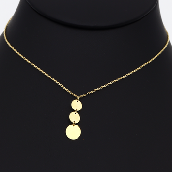 Real Gold 3 Round Rosary Necklace 3389 N1254