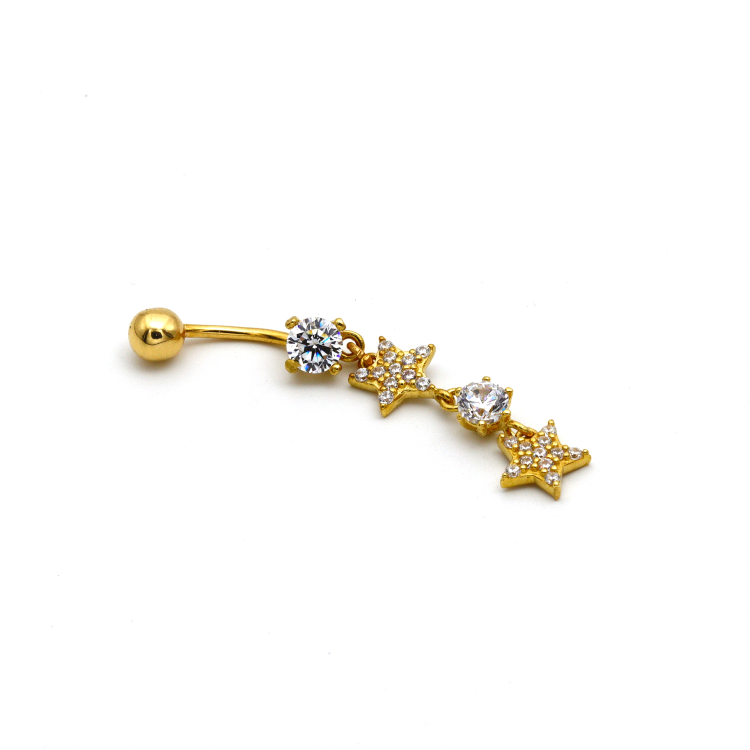 Real Gold Hanging 2 Star Belly Navel Piercing BP1004 - 18K Gold Jewelry
