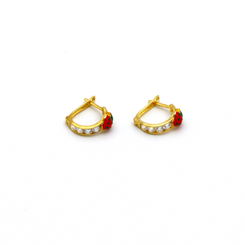 Real Gold Strawberry Stone Earring Set E1423 - 18K Gold Jewelry