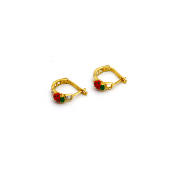 Real Gold Beetle Stone Earring Set E1424 - 18K Gold Jewelry