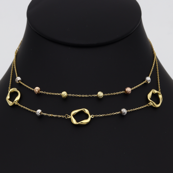 Real Gold 2 Layer 3 Color Seeds Necklace 3295 N1265