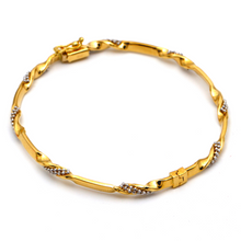 Real Gold 2 Color Beads Twisted Bangle 2592 (SIZE 19.5) BA1237 - 18K Gold Jewelry