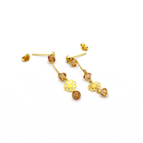 Real Gold Hanging Flower Earring Set E1441 - 18K Gold Jewelry