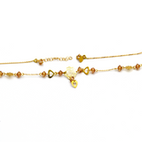 Real Gold Flower Heart Adjustable Size Necklace N1136 - 18K Gold Jewelry