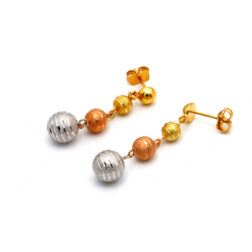 Real Gold Stud 3 Color 3 Balls Hanging Earring Set 1569 E1663