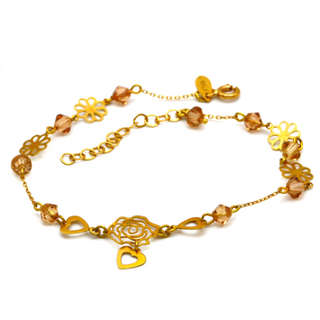 Real Gold Flower Heart Adjustable Size Bracelet BR1201 - 18K Gold Jewelry