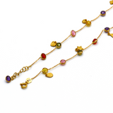 Real Gold Mix Color Stone Rosary Anklet Adjustable Size A1020 - 18K Gold Jewelry