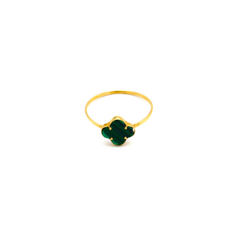 Real Gold VC Green Ring (SIZE 6.5) R1378 - 18K Gold Jewelry