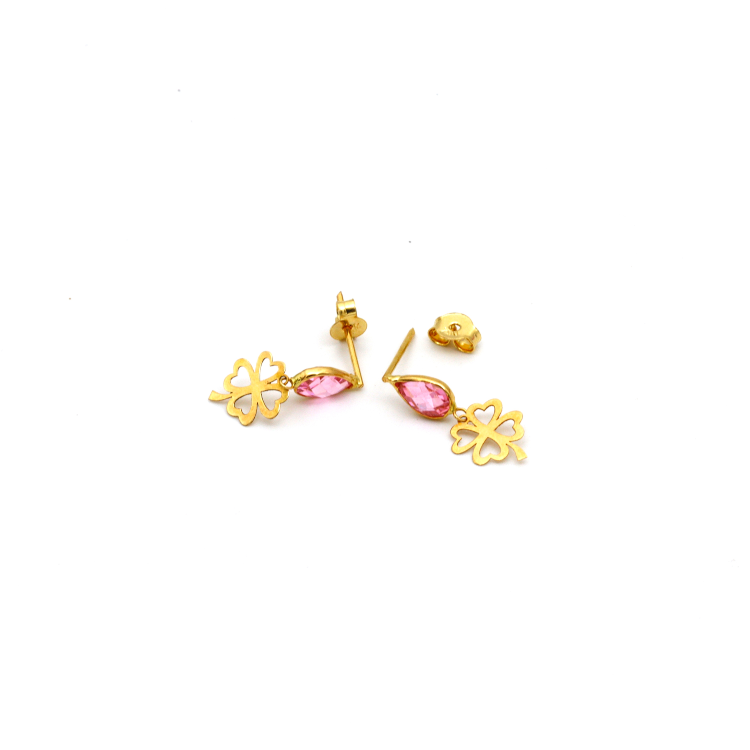 Real Gold 4 Heart Leaf Pink Stone Dangling Earring Set E1439 - 18K Gold Jewelry