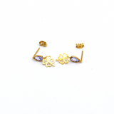 Real Gold 4 HEart Leaf Violet Stone Dangling Earring Set E1438 - 18K Gold Jewelry