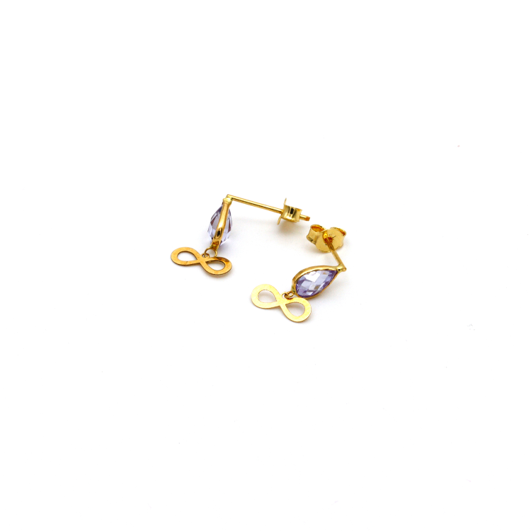 Real Gold Infinity Violet Dangler Earring Set E1434 - 18K Gold Jewelry