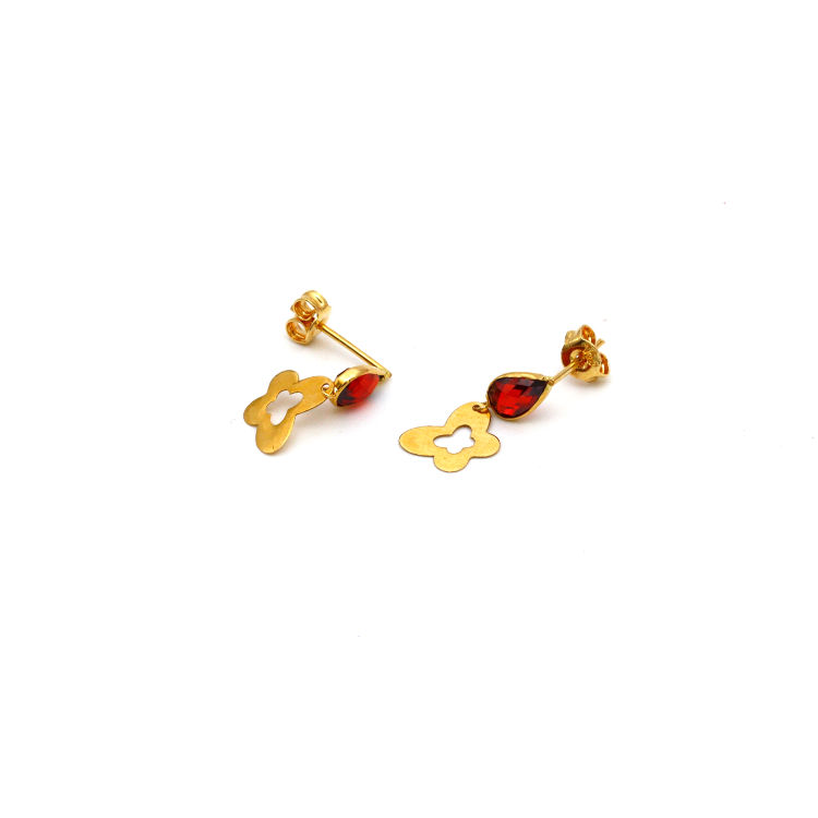 Real Gold Butterfly RED Dangler Earring Set E1433 - 18K Gold Jewelry