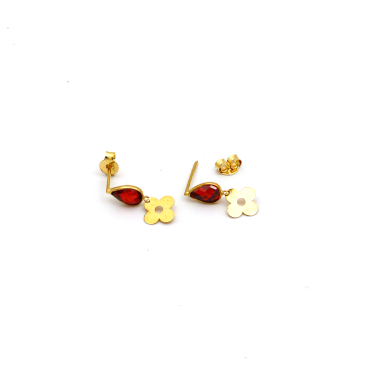 Real Gold LV RED Dangler Earring Set E1431 - 18K Gold Jewelry