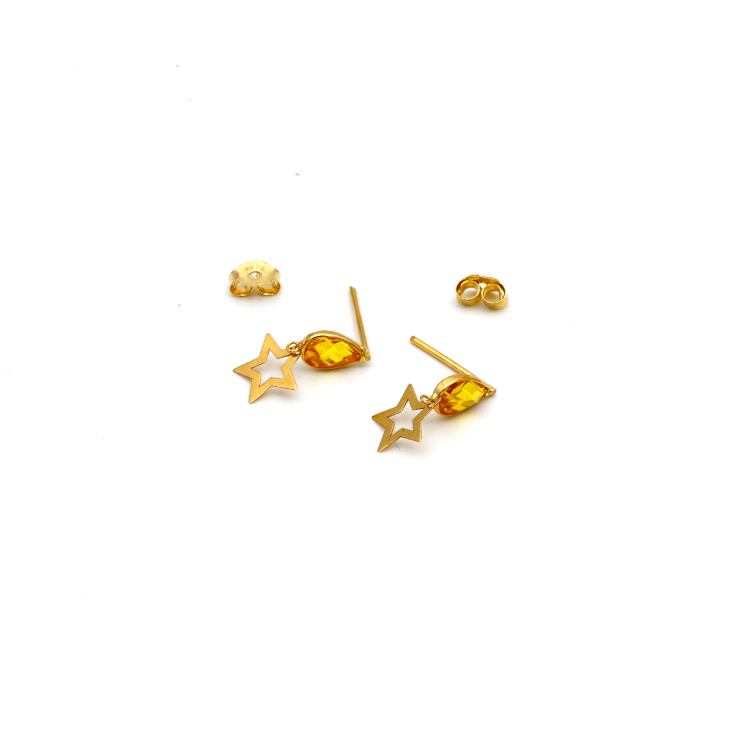 Real Gold Star Yellow Dangler Earring Set E1430 - 18K Gold Jewelry