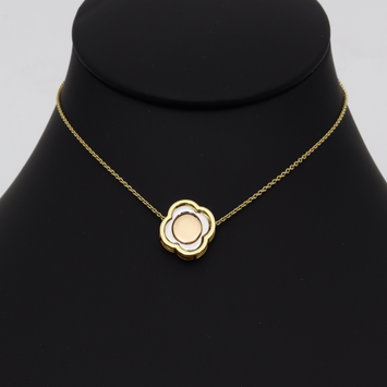 Real Gold 3 Color VC Detachable and Movable Two Sided Pendant Necklace 2732 N1269