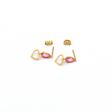 Real Gold Heart Pink Dangler Earring Set E1450 - 18K Gold Jewelry