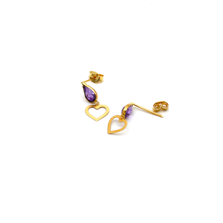 Real Gold Heart Style Violet Dangler Earring Set E1448 - 18K Gold Jewelry