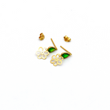 Real Gold Flower Green Dangler Earring Set E1444 - 18K Gold Jewelry