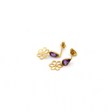 Real Gold Flower Violet Dangler Earring Set E1443 - 18K Gold Jewelry