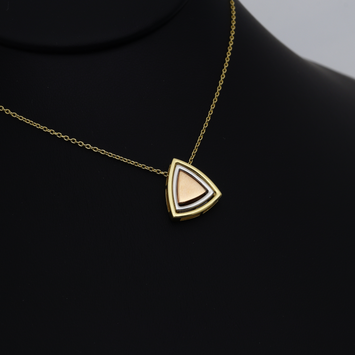 Real Gold 3 Color Triangle Detachable and Movable Two Sided Pendant Necklace 2730 N1271