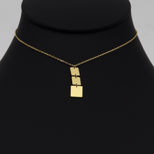 Real Gold Plain 3 Square Hanging Necklace 3388 N1272 - 18K Gold Jewelry