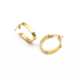 Real Gold 2 Color CR Oval Earring Set E1465