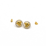 Real Gold Round Maze Hoop Earring Set E1464