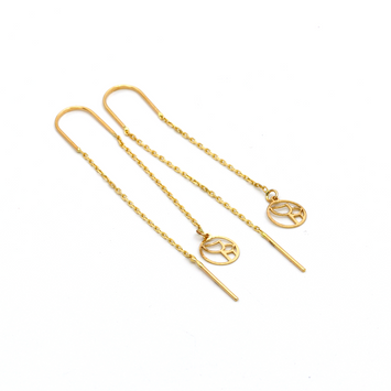 Real Gold Vertical Infinity Hanging Earring Set E1460