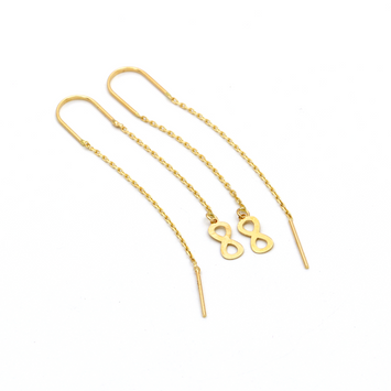Real Gold Vertical Infinity Hanging Earring Set E1459