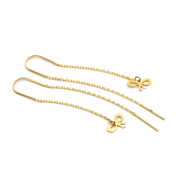 Real Gold Tie Hanging Earring Set E1457