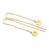 Real Gold Sun Flower Hanging Earring Set E1455