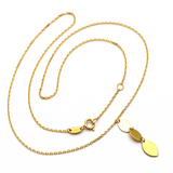 Real Gold Oval Plain Dangler Rosary Necklace 3390 N1277