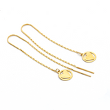 Real Gold Round Heart Hanging Earring Set E1454