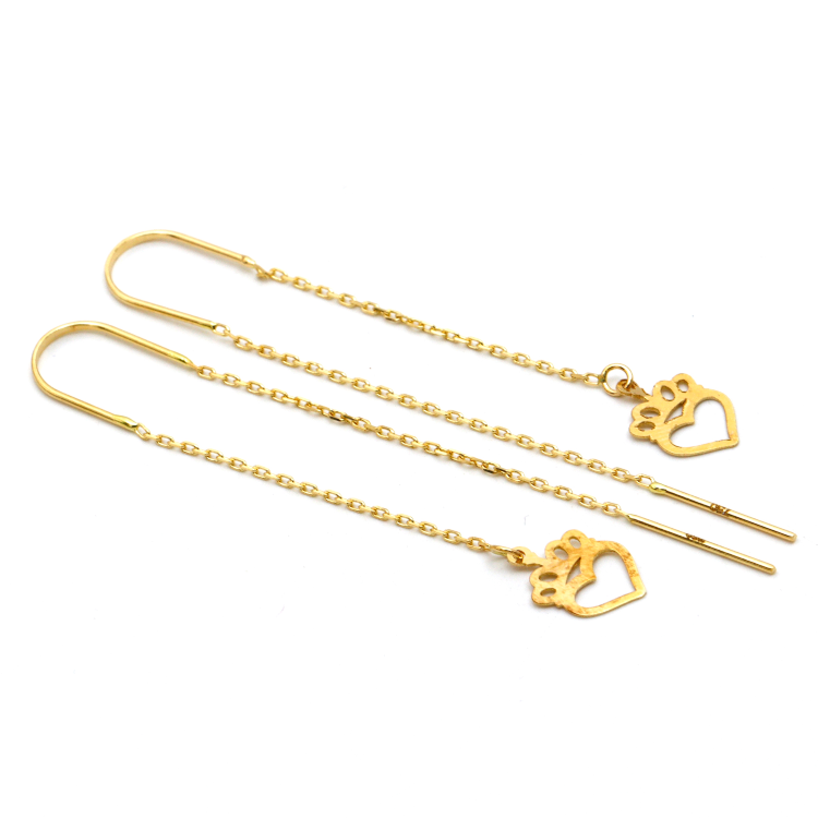 Real Gold Strawberry Heart Hanging Earring Set E1469