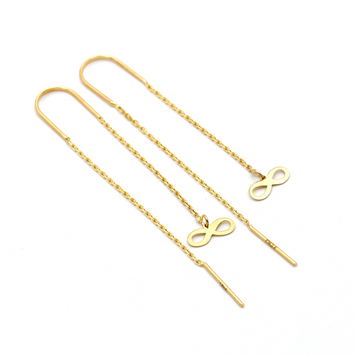 Real Gold Horizontal Infinity Hanging Earring Set E1467