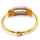 Real Gold 3 Color Round Pipe Bangle 0628 (SIZE 17.5) BA1239