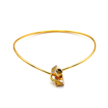 Real Gold 2 Color Square Lock Kids Bangle 0162 (SIZE 11) K1215
