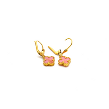 Real Gold VC Pink Hanging Earring Set E1476 - 18K Gold Jewelry