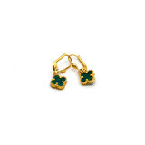 Real Gold VC Green Hanging Earring Set E1478