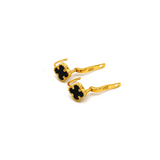 Real Gold VC Black Press Earring Set E1480