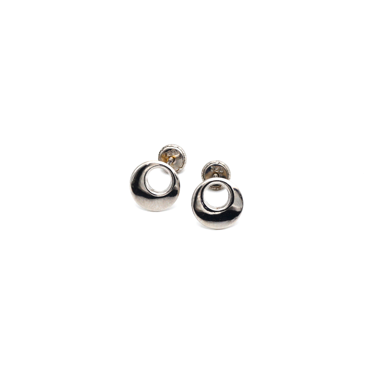 Real Gold Round White Gold Screw Earring Set 0016 K1217