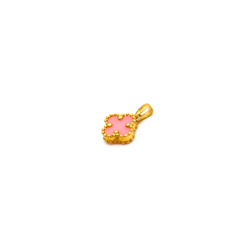 Real Gold Small VC Pink Pendant K1004