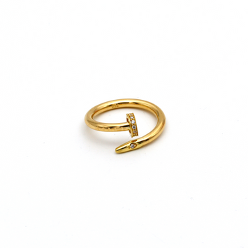 Real Gold CR Stone Nail Ring (SIZE 8) R1403