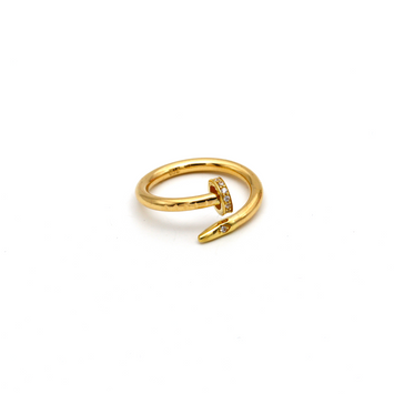 Real Gold CR Stone Nail Ring (SIZE 7) R1401