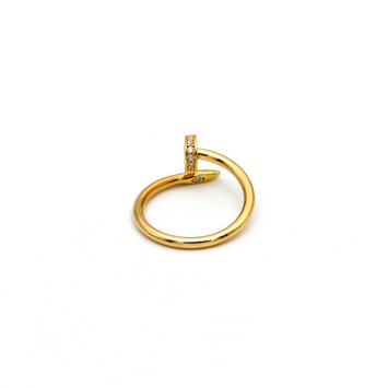 Real Gold CR Stone Thin Nail Ring A (SIZE 8) R1407