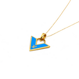 Real Gold LV Blue Necklace N1141