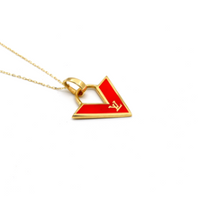 Real Gold LV Red Necklace N1142 - 18K Gold Jewelry